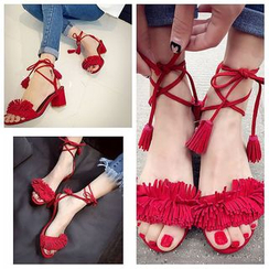 BAYO - Tasseled Block Heel Sandals