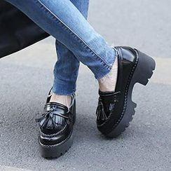Mancienne - Tasseled Platform Chunky-Heel Loafers