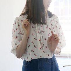 Dute - Short-Sleeve Floral Print Chiffon Blouse