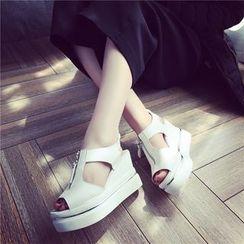 Wello - Zip Front Platform Wedge Sandals