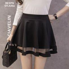 Honey Diary - Mesh Panel Ruffle Skirt