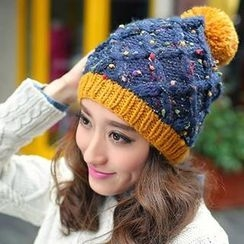 GreatMay - Pompom Accent Color-Block Knit Beanie