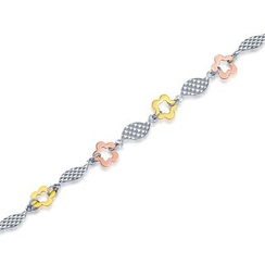 MaBelle - 14K Yellow, Rose And White Gold Flower With Wave Bracelet (17.5cm)