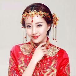 Puru Lia - Bridal Set: Flower Headpiece + Hair Pin