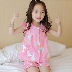 Candy Baby - Kids Pajama Set: Duck Print Frill Trim Sleeveless Top + Puff Shorts