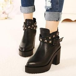 Mancienne - Studded Chunky Heel Ankle Boots