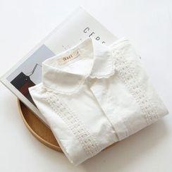 布丁坊 - 蕾丝边长袖衬衫