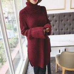 DABAGIRL - Turtle-Neck Rib-Knit Dress