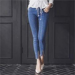 ERANZI - Slit-Hem Washed Skinny Jeans