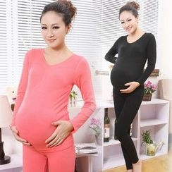 Apsara - Maternity Pajama Set: Plain Long-Sleeve Top + Pants