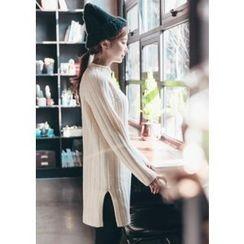 Chlo.D.Manon - Mock-Neck Mini Rib-Knit Dress