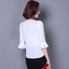 Emeline - Elbow-Sleeve Ruffled Chiffon Blouse