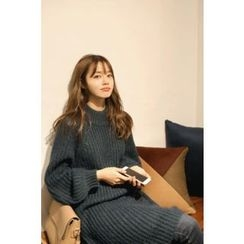CHERRYKOKO - Raglan-Sleeve Rib-Knit Dress