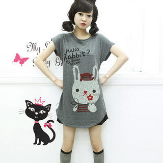 Short-Sleeve Rabbit Print T-Shirt