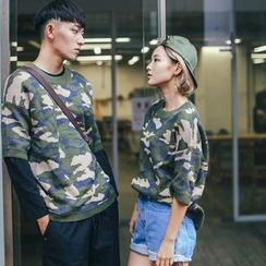 Simpair - Camouflage Elbow Sleeve Couple Matching Sweater