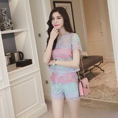 Ashlee - Set: Color Block Short Sleeve Lace Top + Lace Shorts