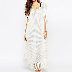 Sunset Hours - Fringed Stripe Long Knit Cover-up