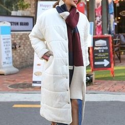 PPGIRL - Round-Neck Padded Long Coat