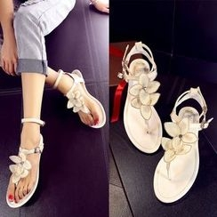 Romantina - Floral Genuine Leather Thong Sandals