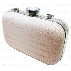 Glam-it! - Faux Croco Baby Pink Convertible Mini Clutch Bag with Swarovski Crystal Closure (Limited Edition)