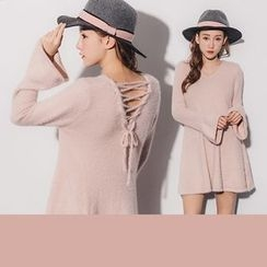 PUFII - Lace-up Back V-Neck Fleece Dress