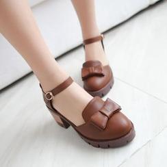 幸福鞋坊 - 蝴蝶結粗跟鞋