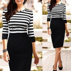 Forest Of Darama - Stripe Panel Midi Sheath Dress