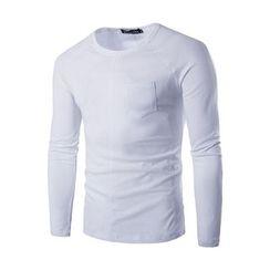 Fireon - Long Sleeve Crewneck Pocket T-Shirt
