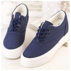 EUNICE - Hidden-Heel Platform Canvas Sneakers