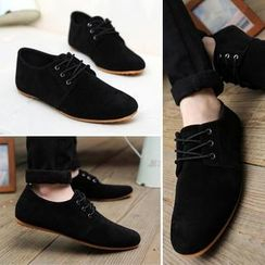 Hipsteria - Faux-Suede Lace-Up Casual Shoes