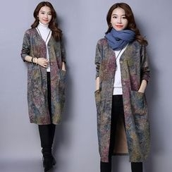 Diosa - Floral Print Long Linen Blend Coat