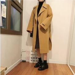 monroll - Notch Lapel Long Woolen Coat