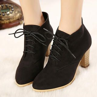 Mancienne - Lace-Up High-Heel Ankle Boots