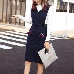 Jolly Club - Set: Knit Top + Jumper Dress