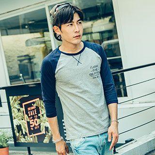AOYAMA - 3/4-Sleeve Color Block T-Shirt
