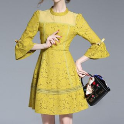 Seagrass - 3/4-Sleeve Lace Dress