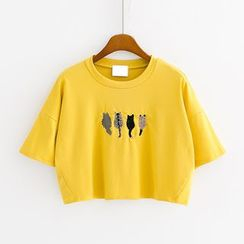 Sunny Day - Cat Embroidered Short-Sleeve Cropped T-Shirt