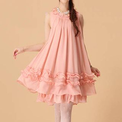 Cerise - Frilled Sleeveless Chiffon Dress