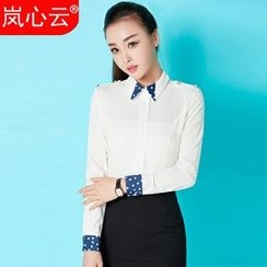 Skyheart - Dotted Panel Blouse / Set: Dotted Panel Blouse + Pencil Skirt / Set: Dotted Panel Blouse + Dress Pants