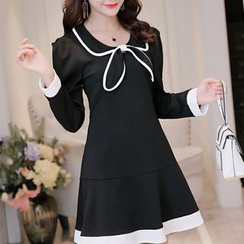 Q.C.T - Long-Sleeve Bow Neck A-Line Dress