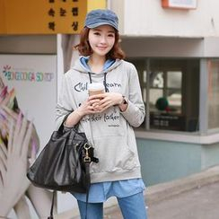 CLICK - Inset Denim Hooded Pullover
