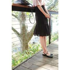 CHERRYKOKO - Chiffon-Hem Mermaid Skirt
