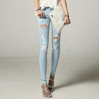 SARAH - Washed Distressed Skinny Jeans