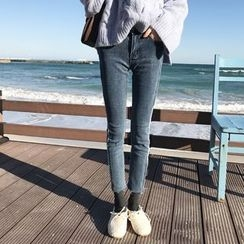 YUKISHU - 短款窄身牛仔裤