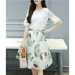 Dowisi - Set: Plain Bell-Sleeve Top + Floral Print A-Line Skirt