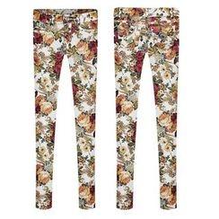 GRACI - Floral Print Elastic Skinny Pants