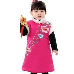 Emperial - Kids Floral Fleece-lined Cheongsam