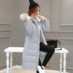 AiSun - Furry Hooded Long Padded Coat