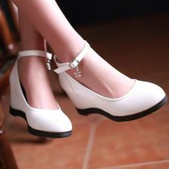 Sidewalk - Ankle Strap Wedge Pumps