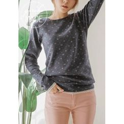 GOROKE - Lace-Trim Flower Pattern T-Shirt